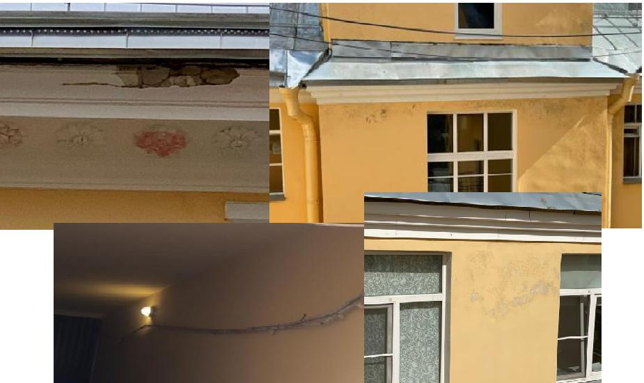 Дефекты на фасаде и кровле после зимы 2020-2021 года